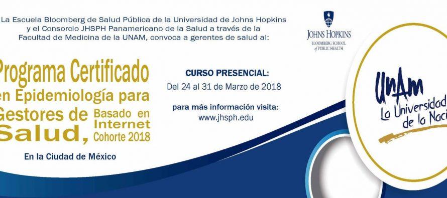 Programa certificado en Epidemiología para gestores de salud, basado en internet Cohorte 2018