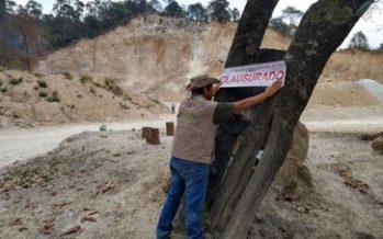 Clausuran extracción ilegal de material pétreo s en un terreno forestal localizado en Singuilucan, Hidalgo