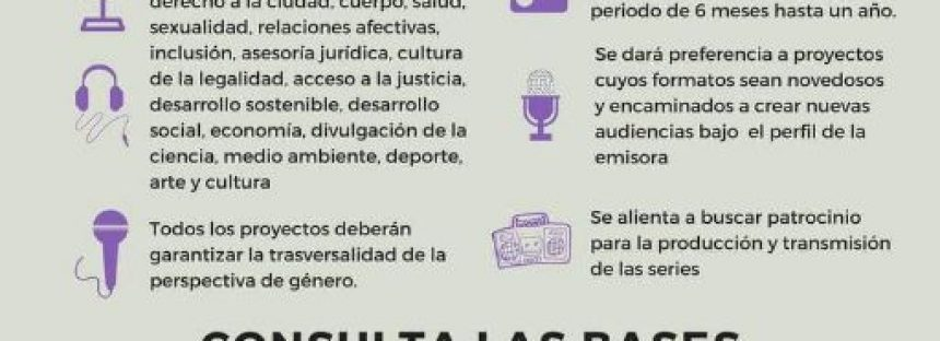 Convocatoria para presentar proyectos radiofónicos con perspectiva de género
