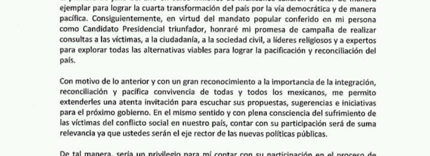 Convocatoria del presidente electo de México Andrés Manuel López Obrado