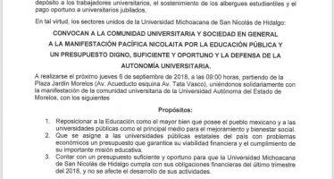 Manifestación pacífica nicolaita por la educación pública y un presupuesto digno, suficiente y oportuno y la defensa de la autonomía universitaria