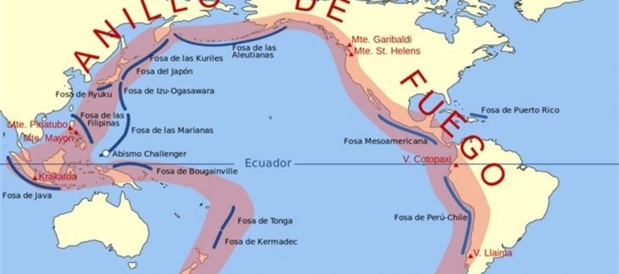 Cinturón de fuego, zona de sismos y volcanes