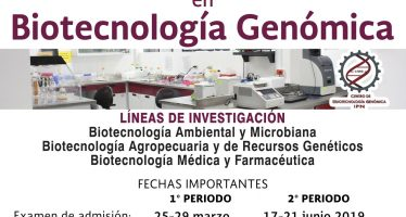 Maestría en ciencias en Biotecnología Genómica 2019