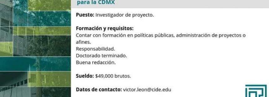 Vacante: Investigador de proyecto