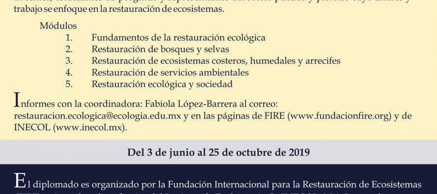 Diplomado en linea: Restauración de ecosistemas y servicios ambientales sexta edición