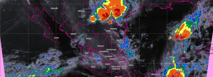 Tormentas puntuales muy fuertes se prevén hoy en Nuevo León, Tamaulipas, Veracruz y Chiapas