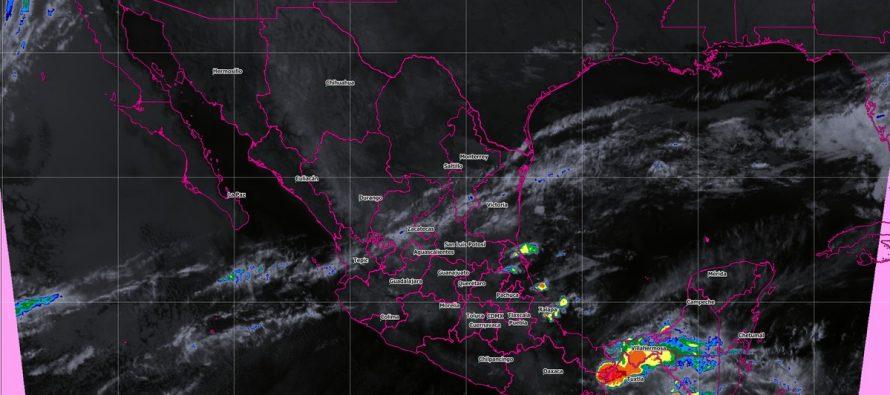 Se prevén tormentas muy fuertes con actividad eléctrica y granizo en San Luis Potosí, Hidalgo, Puebla, Veracruz y Chiapas