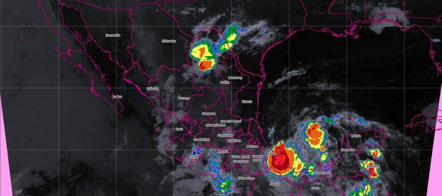 Se pronostican tormentas torrenciales y actividad eléctrica en Veracruz, Oaxaca y Chiapas, e intensas en Puebla, Tabasco y Campeche