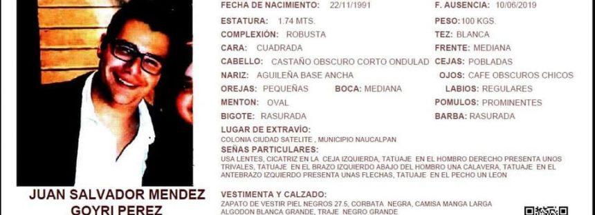 ¡Boletín de urgencia! Ayúdanos a encontrar Juan Salvador Méndez Pérez
