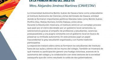 Conferencia paladines del ideal. participación estudiantil en el instituto autónomo de ciencias y artes de Oaxaca en la primera mitad del siglo XX