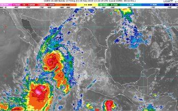 Prevén lluvias extraordinarias en Baja California Sur, torrenciales en Sinaloa y Nayarit e intensas en zonas de Jalisco, Colima y Durango