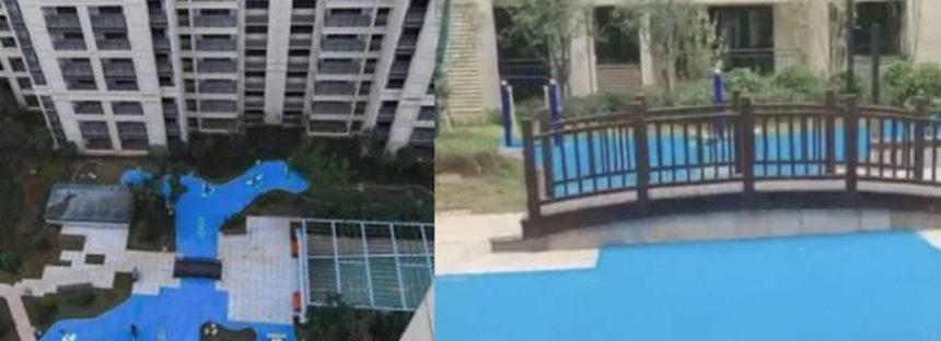 Una promotora china vende casas con vistas a un lago de plástico