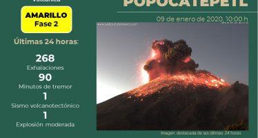 Explosión violenta en el Popo a las 6:33 AM de este 9 de enero