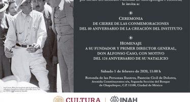 Ceremonia de cierre de las conmemoraciones del 80 aniversario de la creación del INAH