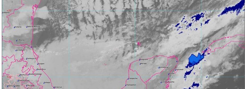 El Frente Frío Número 41 se desplaza lentamente al oriente de la Península de Yucatán, y se disipa