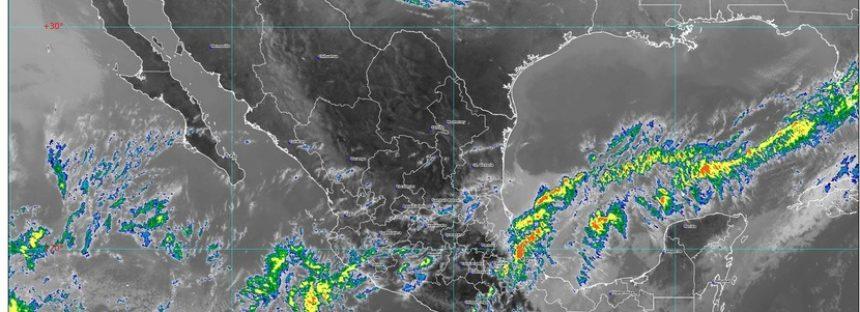 Lluvias fuertes para Chiapas e intervalos de chubascos en Oaxaca, Quintana Roo y Veracruz