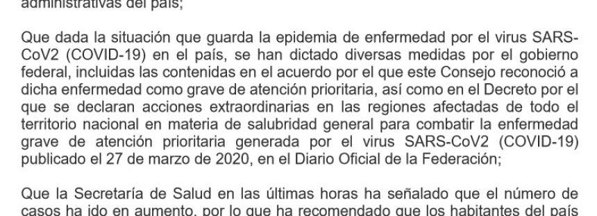 Acuerdo por el que se declara como emergencia sanitaria por causa de fuerza mayor, a la epidemia de enfermedad generada por el virus SARS-CoV2 (COVID-19)