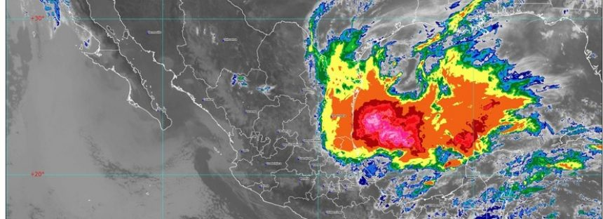 Baja presión con potencial ciclónico en el Pacífico, provoca lluvias torrenciales en Oaxaca, Chiapas, Hidalgo, Puebla, San Luis Potosí, Tabasco y Tamaulipas