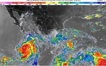 Lluvias intensas este día en Chiapas, Oaxaca y Veracruz; Elida ocasionará lluvias en Baja California Sur, Jalisco y Nayarit.
