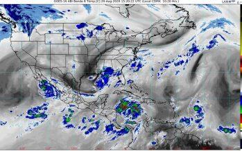 Genevieve provoca lluvias torrenciales en BCS; en el Mar Caribe se formó Depresión Tropical 14 y va a la Península de Yucatán