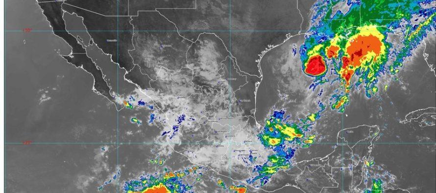 Lluvias intensas con descargas eléctricas y granizadas para Chiapas, Tabasco, Tamaulipas y Veracruz