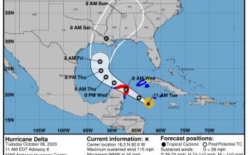 Delta, es Huracán Categoría 4 y se localiza a 520 km al este-sureste de Cozumel y a 550 km al sureste de Cancún