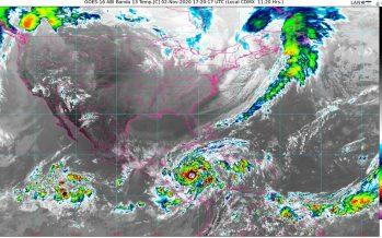 Lluvias intensas, en Chiapas, Oaxaca, Tabasco y Veracruz; viento del norte con rachas de 110 km/h en Golfo e Istmo de Tehuantepec